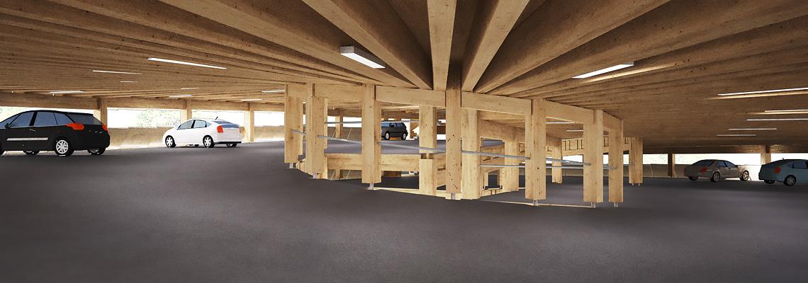 Puuparkkihalli, kehityshanke Tila Groupin kanssa. 3D-havainnekuva Planetary Architecture.