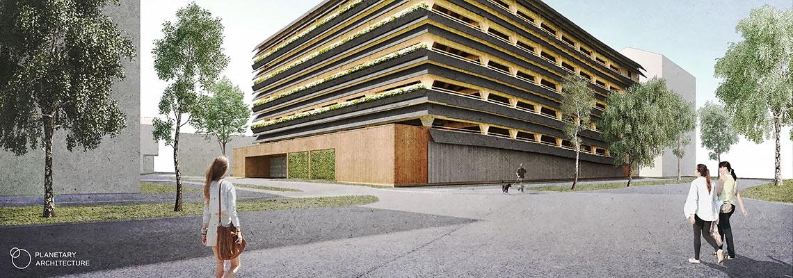 Puurakentamisen paloturvallisuus, Kivistön katunäkymä (havainnekuva: Planetary Architecture)